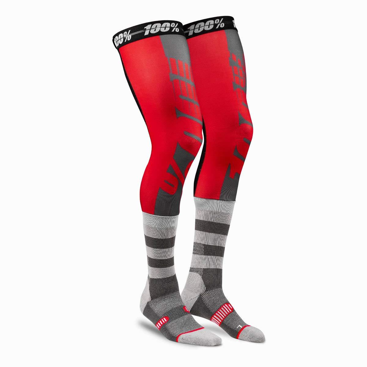 100% Rev Knee Brace Performance Moto Socks - Red MX Riding Sleeves Sock Adult Small/Medium