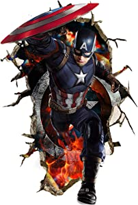 JEEZON Superhero Wall Decal 3D Super Hero Wall Stickers Removable PVC Cartoon Wall Sticker for Kids Bedroom Living Room Playroom Wall Décor, 16 inches x 24 inches (Captain America), JEEZON- Superhero-001