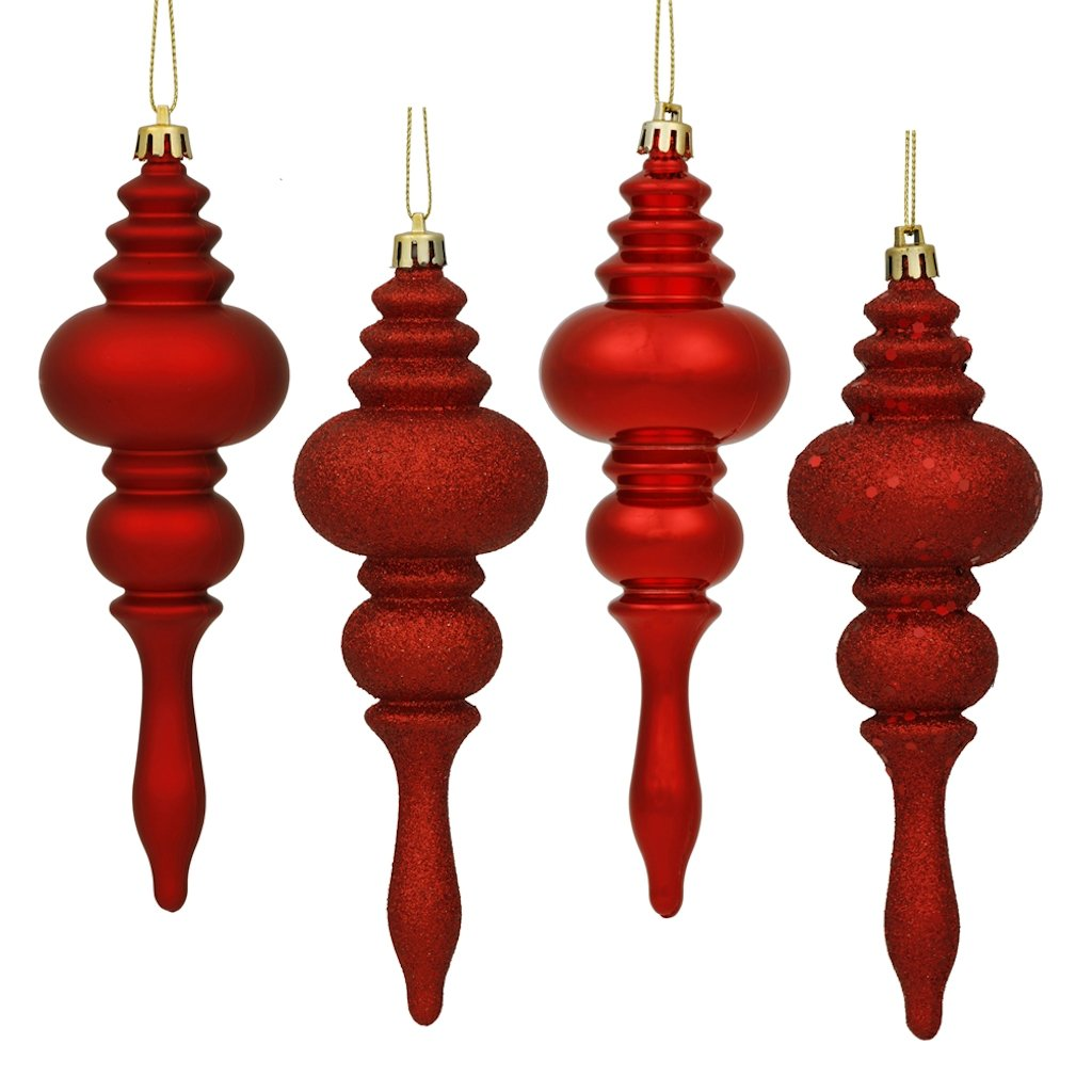 Vickerman 4 Finish Finial Ornaments, 7-Inch, Antique Gold, 8-Pack N500230
