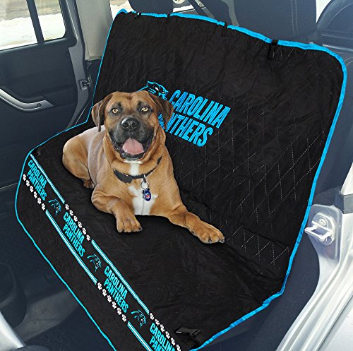Pets First NFL CAR SEAT Cover - Carolina Panthers Waterproof, Non-Slip Best Football Licensed PET SEAT Cover for Dogs & Cats. ()