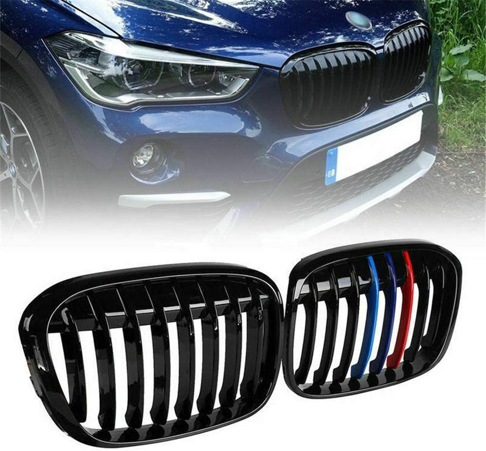 Gloss Black Zealhot Black Front Kidney Grill Grilles For 2016-2019 BMW X1 Series F48 Double Line