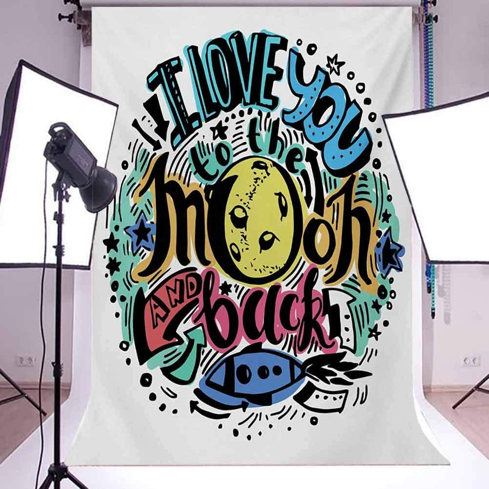 I Love You 10x12 FT Photo Backdrops,Grunge Valentines Colorful Composition Rocket Figure Declaration of Love Phrase Background for Baby Shower Bridal Wedding Studio Photography Pictures Multicolor