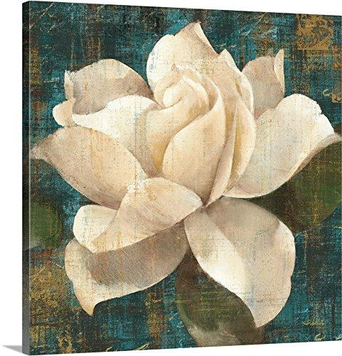 Albena Hristova Premium Thick-Wrap Canvas Wall Art Print entitled Gardenia Blossom Turquoise (Gardenia Blossom)