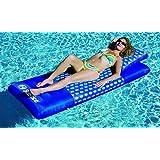 "78"" Blue Designer Print Swimming Pool Inflatable Floating Air Mattress Raft"