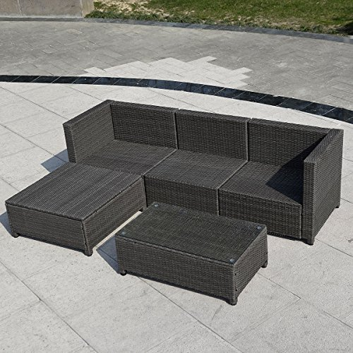 5pc Outdoor Patio Sofa Set Sectional Furniture Pe Wicker