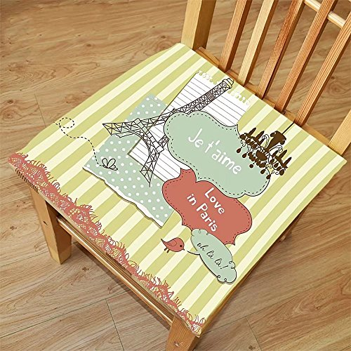 Nalahome Set of 2 Waterproof Cozy Seat Protector Cushion Paris Decor Collection Illustration of Famous Cultural French Icons with Eiffel Tower Love Paris Print Soft Pink Green Printing Size 18x18inch