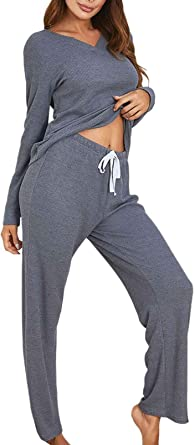 Two Piece Sweatsuit Loungewear for Women Pullover Sweatshirts Drawstring Wide Leg Pants Tracksuit Workout Sets