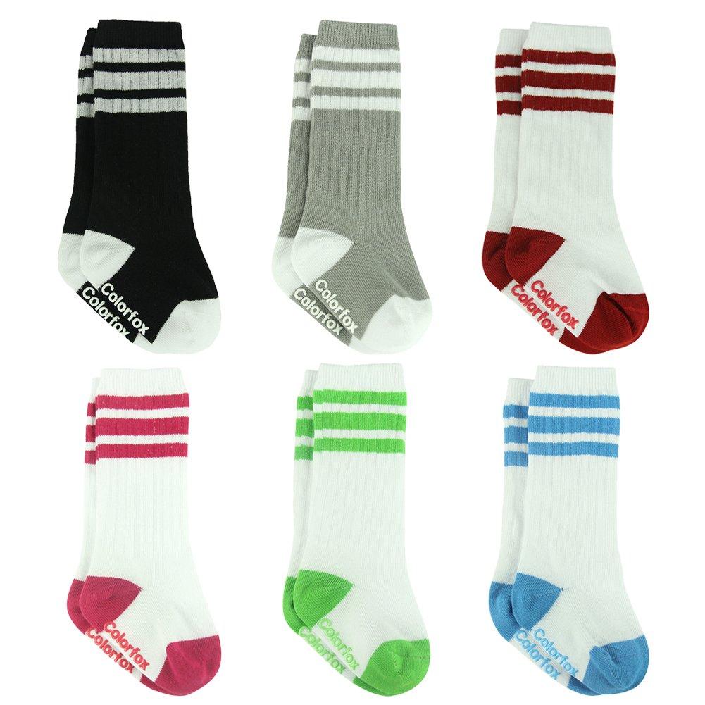 12-24 Months Socks Baby Girls Boys Toddler Walking Sports Non-skid Knee High Socks 6 Pairs Colorfox
