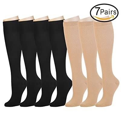 7 Pairs Compression Socks For Women and Men - Best Medical, Nursing, Athletic, Edema, Diabetic,Varicose Veins,Maternity,Travel,Flight Socks,Shin Splints - Below Knee High