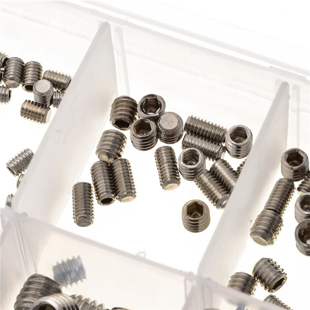UKCOCO 200pcs Stainless Steel Grub Screws M3 M4 M5 M6 M8 Hex Flat Point Head Socket Screws Assortment Kit with Box