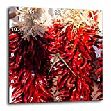 3dRose Danita Delimont - Food - USA, New Mexico, Sant Fe, Red Chili peppers on string. Santa Fe - 13x13 Wall Clock (dpp_279247_2)