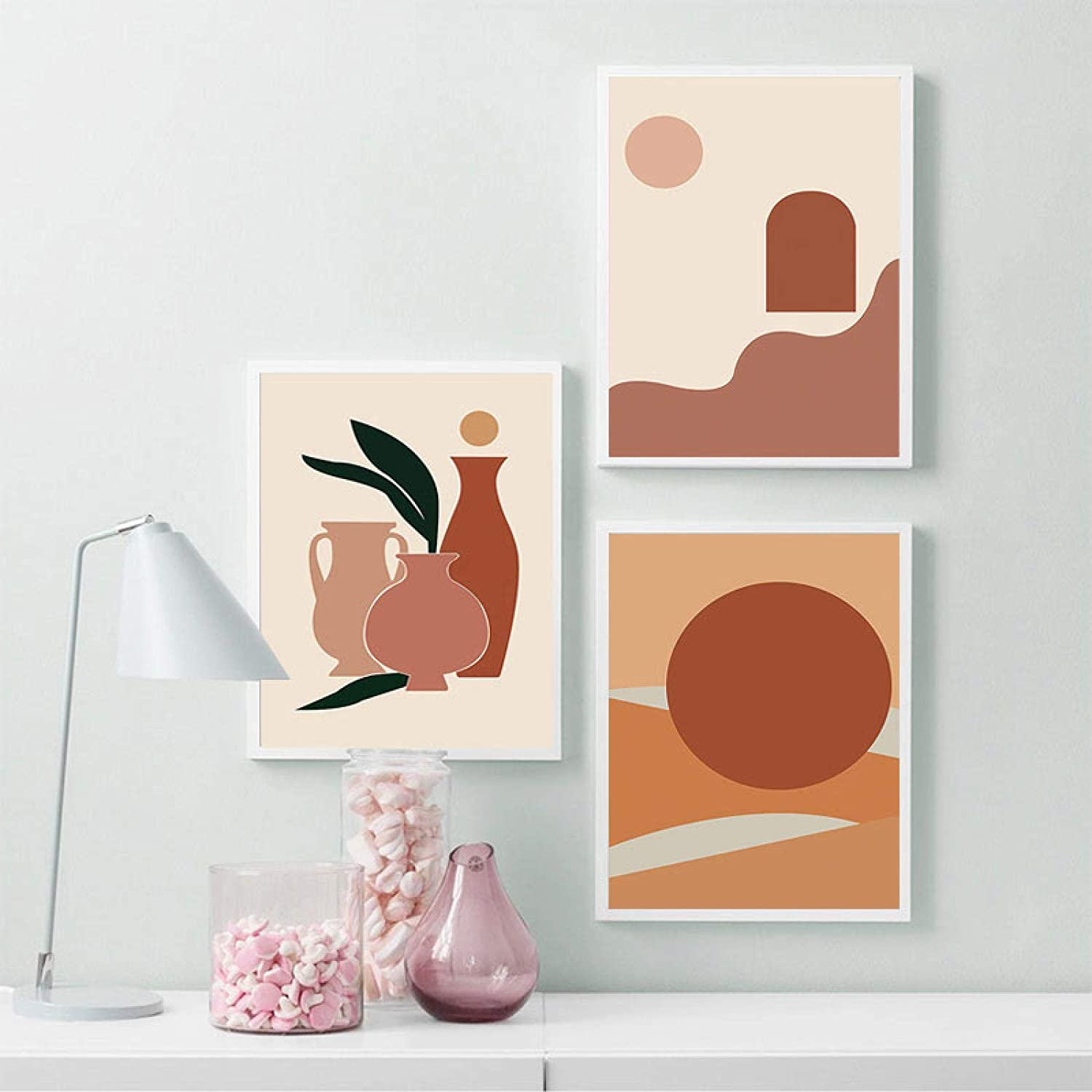 """YQLKC Fashion Girl Plants Leaves Illustration Wall Art Christmas Canvas Painting Nordic Poster Home Decor for Living Room 15.7""""x23.6""""(40x60cm) 3pcs with Frame"""