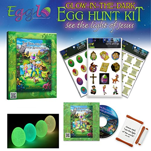 (Egglo Glow in the Dark Easter Egg Kit (Religious) - Fun Christian Easter Activity for Your Kids - Includes Egg Fillers Toys, Easter Book/ DVD and Bonus Egg Hunt Guide)