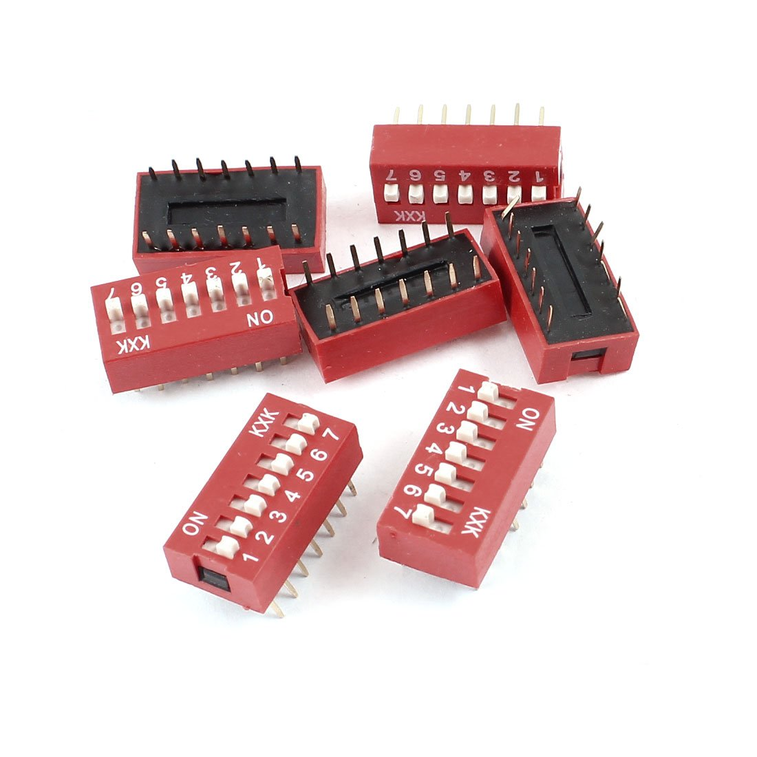 Slide Type Dual Row 14 Pin 7 Positions Way DIP Key Switch 6Pcs Sourcingmap a14061000ux0436