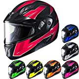 HJC CL-MAX2SN Ridge Run Modular Snow Helmet Framed Dual Lens Shield (MC-8 Neon Pink, Small)