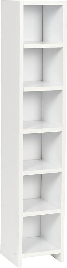 Ts-ideen – Estantería para CD con 6 estantes para almacenaje, madera, 105 x 20 cm, color blanco
