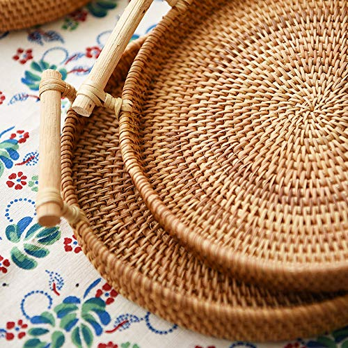 iHogar Rattan Bread Basket Round Woven Tea Tray with Handles for Serving Dinner Parties Coffee Breakfast (8.7 inches) by iHogar (Image #3)