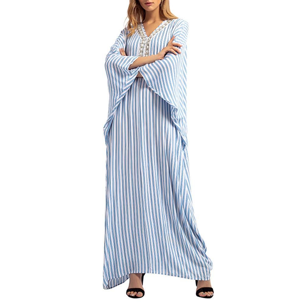Clearance Womens Clothing WEUIE Women Stripe Rhinestone Long Dress Islamic Muslim Middle East Maxi Robe Dresses (S, Light Blue )