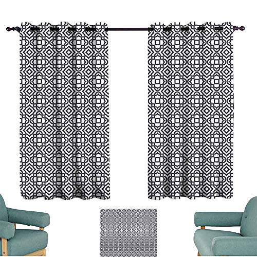 - HCCJLCKS Insulated Sunshade Curtain Geometric Vintage Abstract Pattern Rectangle Designs Ornamental Motifs European Breathability W63 xL45 Charcoal Grey White