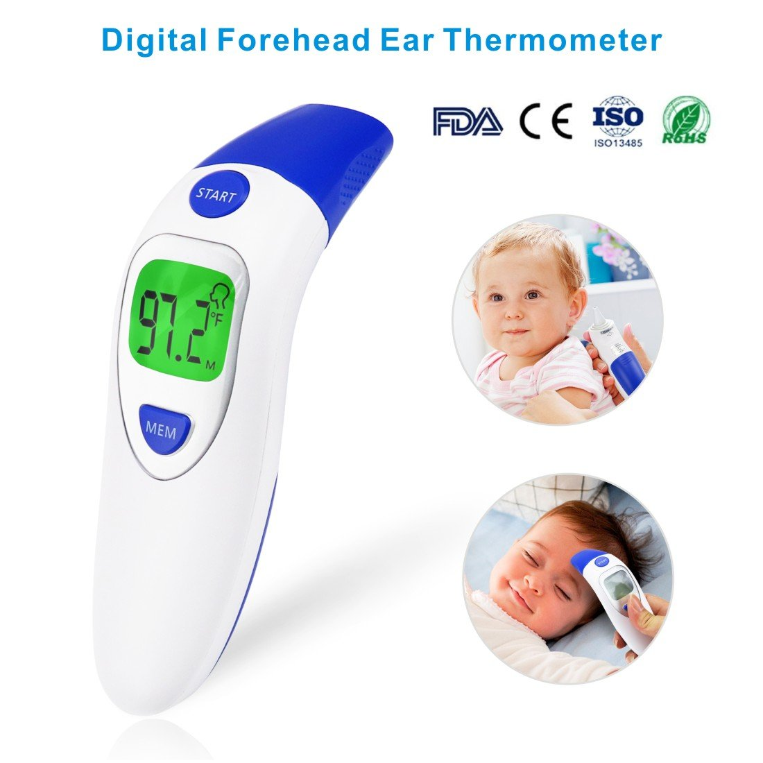 Idefair(TM) Digital Forehead Ear Thermometer Medical Infrared Clinical Body Object Measure Thermometer Accurate Instant Read For Toddler Infant Kids Children Adult with Fever Warning