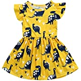 Toddler Baby Girl Summer Dress Dinosaur Printed Skirt Small Fly Sleeve Outfits Clothes Set (1-2 Years) Yellow