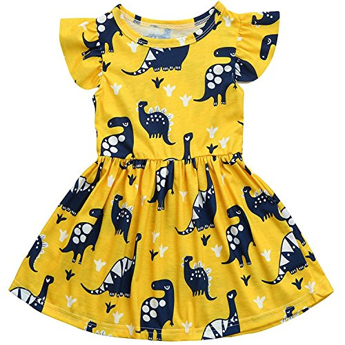 Toddler Baby Girl Summer Dress Dinosaur Printed Skirt Small Fly Sleeve Outfits Clothes Set (2 T-3 T)