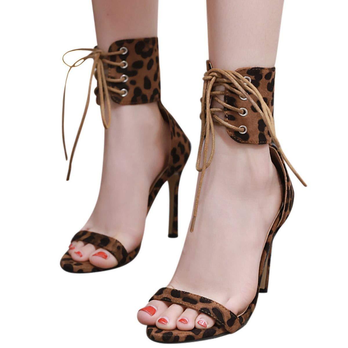 Meiliwanju Stiletto High Heel, Womens Open Toe Leopard Print Comfortable Ankle Wide Strap Lace-Up Sandal Dress Pump (Yellow, 5)