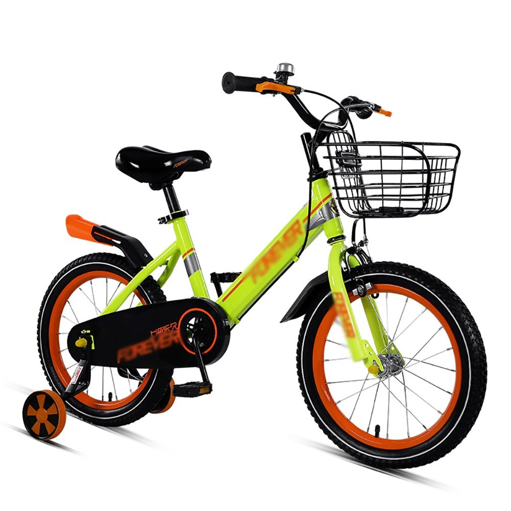 Bicicletas para niños 3-5-8 Años Pedales para Bebés Bicicletas 12 14 16 Pulgadas Niños Y Niñas Estudiantes Cochecito Naranja Y Verde (Tamaño : 16 Inch)