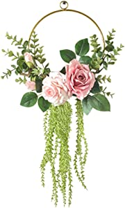 PRETYZOOM Floral Hoop Wreath Rose Flower Half Wreath Wall Hanging Pendant Backdrop Door Garland for Front Door Wedding Party Nursery Decor (Green)