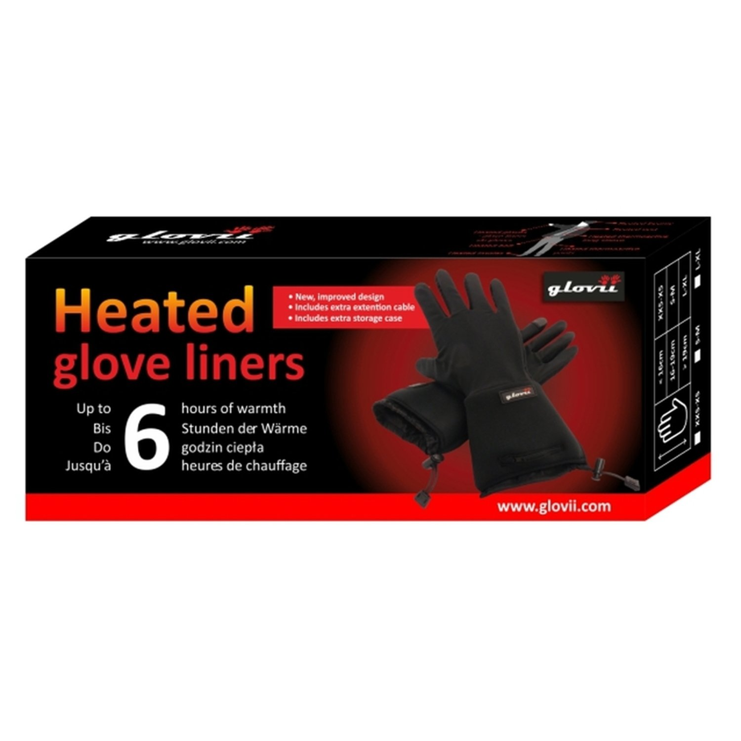 Battery Heated Universal Touchscreen Glove Liners, up to 6 hours of warmth at one recharge - improved 2014 model with free battery extention cable and free storage case - Glovii by Glovii (Image #6)