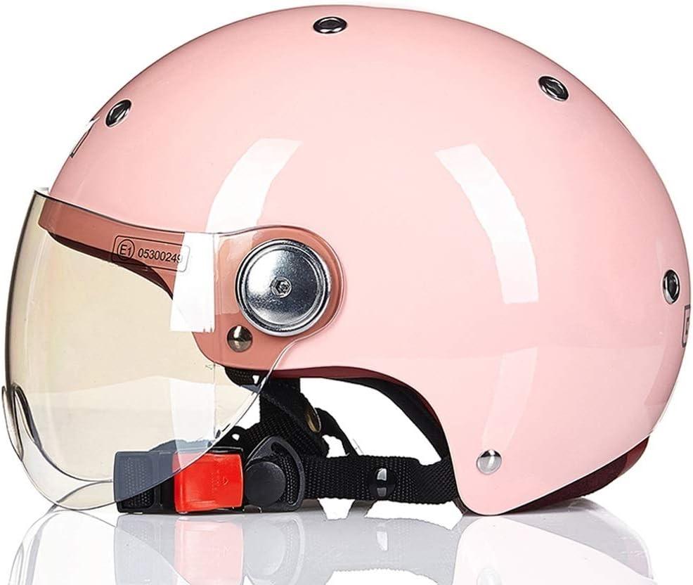 男性と女性のためのオートバイのヘルメット四季ハーフヘルメットカバーカーヘルメットラブリーライト 保護 (Color : ピンク, Size : L)