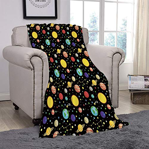 YOLIYANA Light Weight Fleece Throw Blanket/Space,Comets and Constellations Stars with Polka Dots Earth Sun Saturn Mars Solar System,Multicolor/for Couch Bed Sofa for Adults Teen Girls ()
