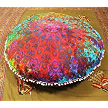 Bohemian Mandala Multi Star Round Floor cushion ,Traditional Vintage Indian Pouf Floor/Foot Stool, 100% Cotton Art Decor Cushion, Only Cover 32 inch
