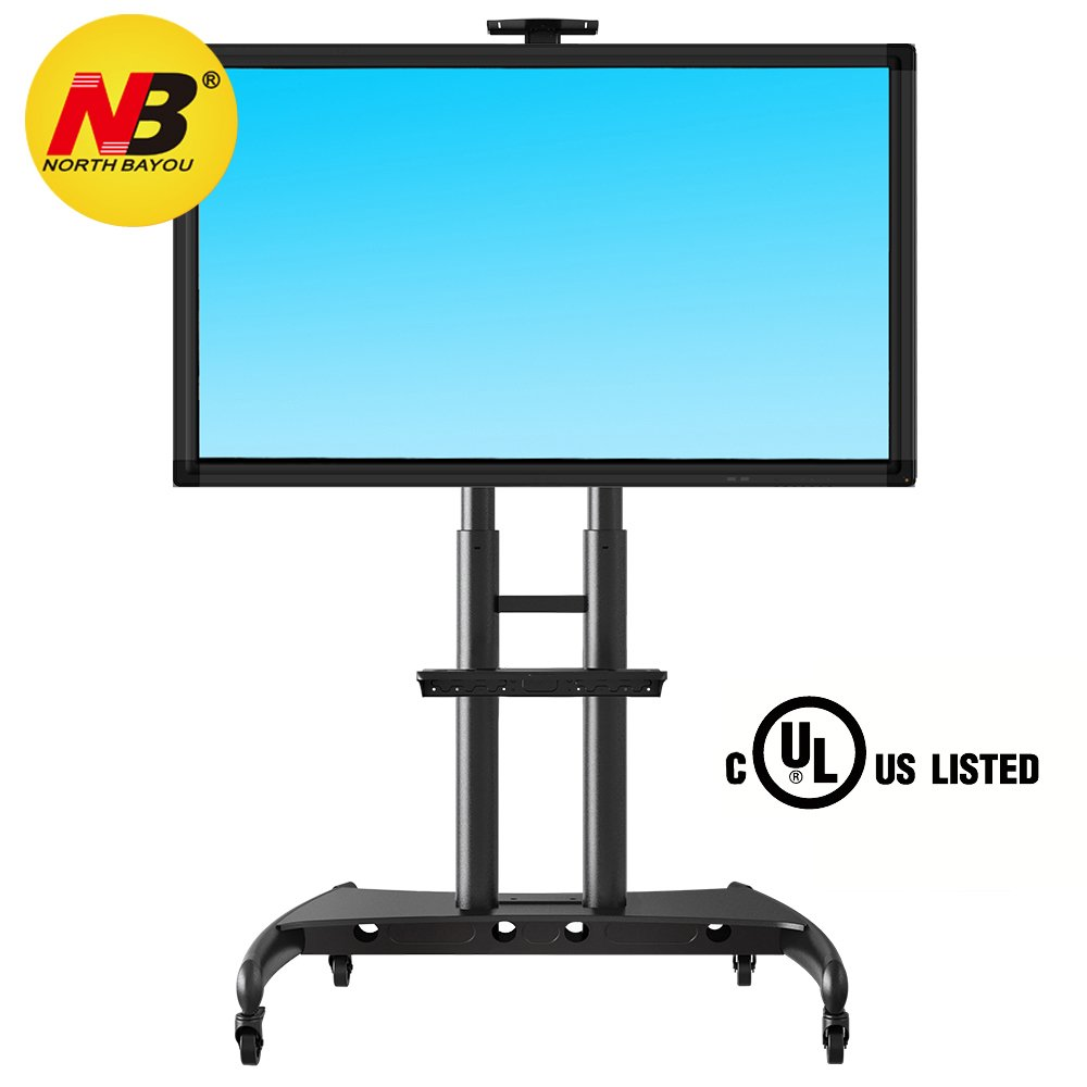 North Bayou Mobile TV Cart TV Stand with Wheels for 55 - 80 Inch LCD LED OLED Plasma Flat Panel Screens up to 200lbs AVA1800-70-1P (black) NB