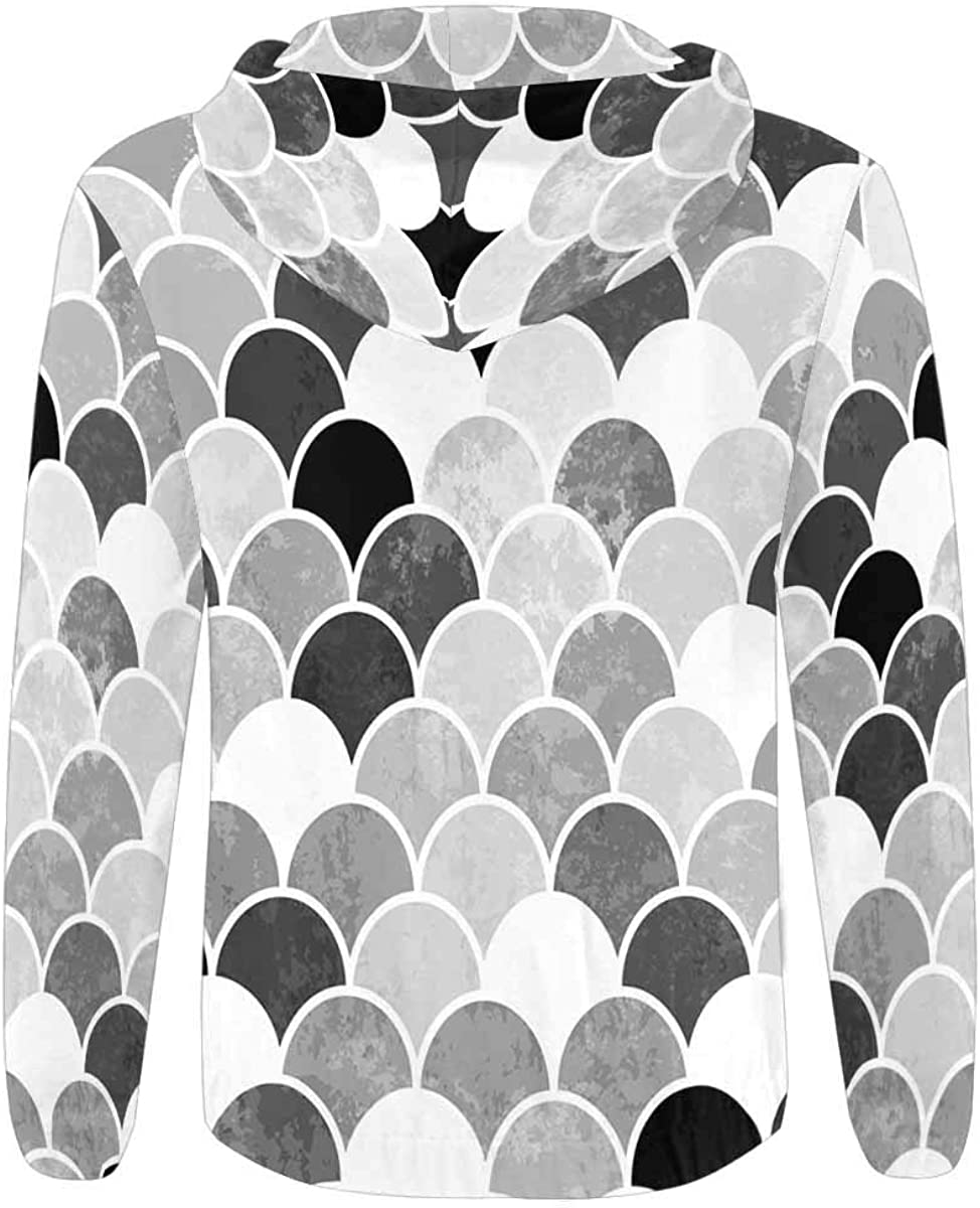 INTERESTPRINT Mens Pullover Full Zip Hoodies Sweatshirt Fish Scales Monochrome
