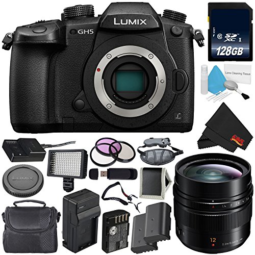 Panasonic Lumix DC-GH5 Mirrorless Micro Four Thirds Digital Camera (Body Only) + Panasonic Leica DG Summilux 12mm Lens + 128GB Class 10 Memory Card Bundle For Sale