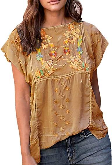 VEMOW Mujeres Verano Camisetas Bordado Vintage Camiseta de Verano con Cuello en O Manga Corta Blusa Superior Casual Verano Invierno Primavera Shirts: Amazon.es: Ropa y accesorios