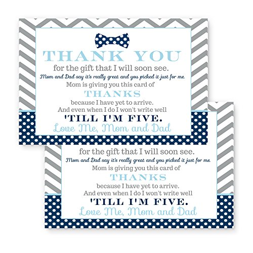 Bow Tie Baby Shower Thank You Postcard Set of 15