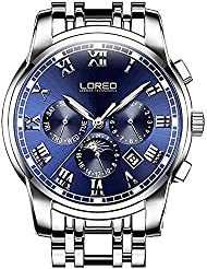 LOREO Mens Automatic Multifunction Silver Stainless Steel Sapphire Glass Waterproof Blue Mens Watch
