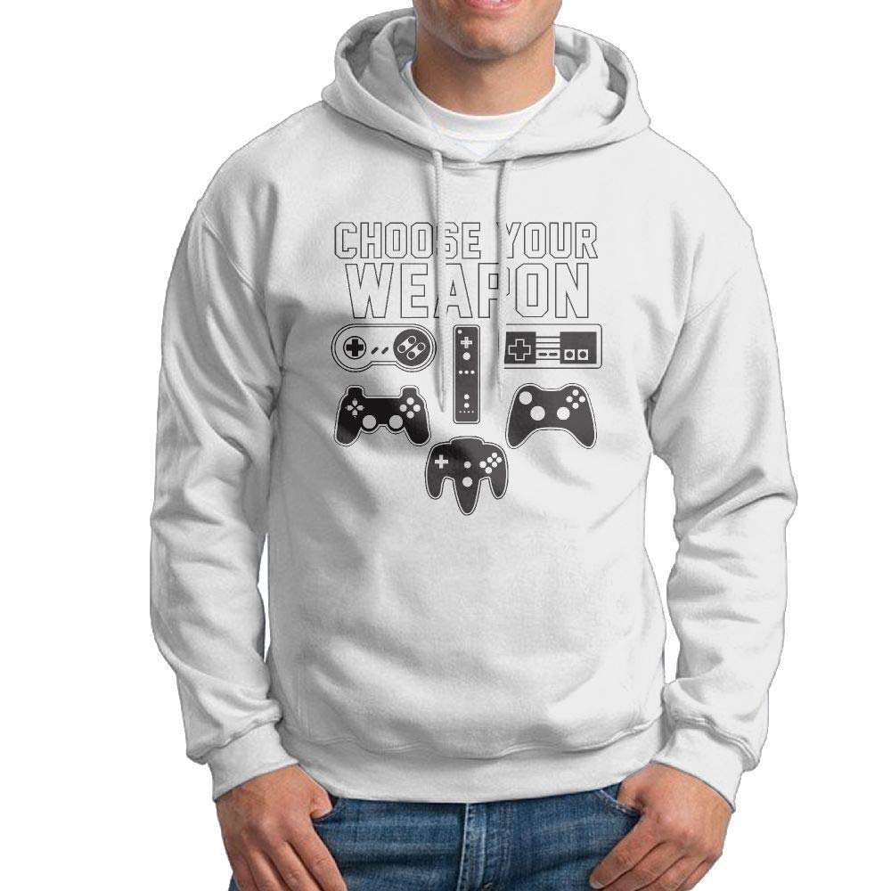 Hooded Sweatshirt Pullover Choose Your Weapon Video Game Controllers Mens