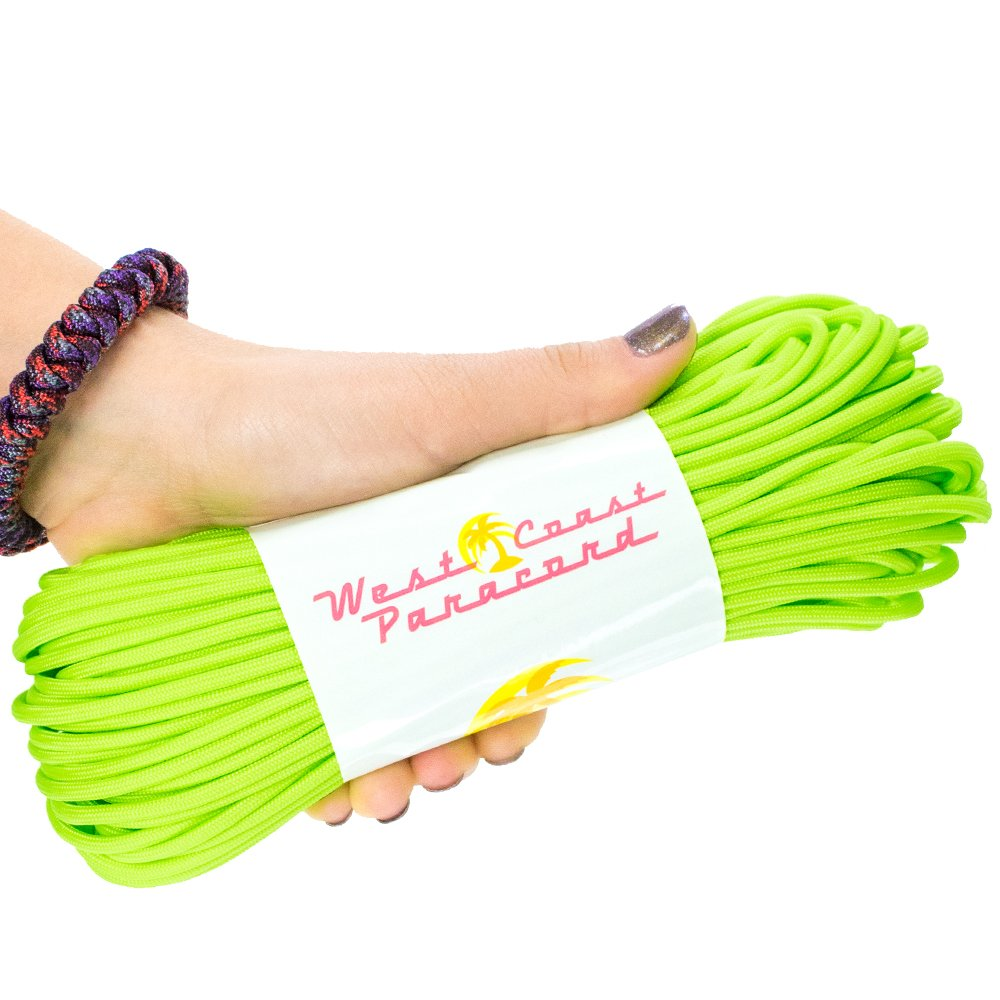 West Coast Paracord 7-Strand 550lb Break Strength-Guaranteed US Made Type III Survival Cord - 30+ Colors to Choose from - Available in 10, 25, 50, 100, 1000 ft (Aurora Green, 10 Feet)