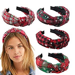 Headband with Cross Knot Design Red Lattice Headband with Snow Print Girl's Hair Accessories Headwear Head Hoop for Christmas Decoration or Gifts