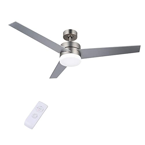 CO-Z Contemporary 52 Inch Ceiling Fan Light Brushed Nickel Finish with 3 Silver and Walnut Plywood Blades, Include 18W LED Light and Remote Control, UL Certificate Brushed Nickel