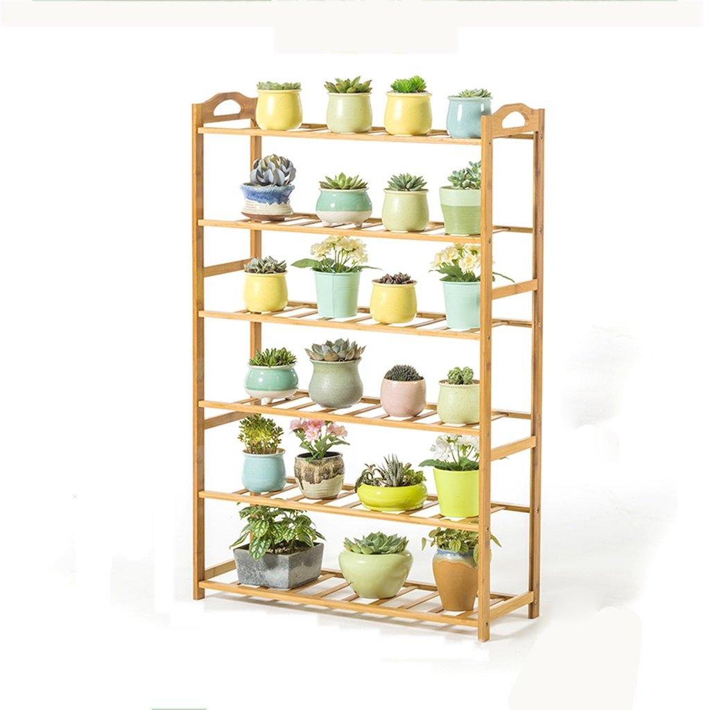 LAN-i Flower Stand Bamboo Floorstanding Succulents Balcone Soggiorno al Coperto e all'aperto Scaffale Porta-Fiori (Dimensioni   6-Tier)