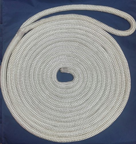Rope Nylon Yacht Braid (3/4 Premium Double Braid Nylon Dockline 100% Made in USA (White, 50feet))