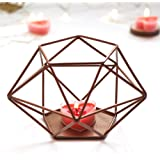 PartyTalk Copper Geometric Candle Holder Metal Tealight Candle Holder Centerpiece for Wedding Dining Table, Rose Gold Geometric Wall Decor, Upgraded Hexagon Candle Holder