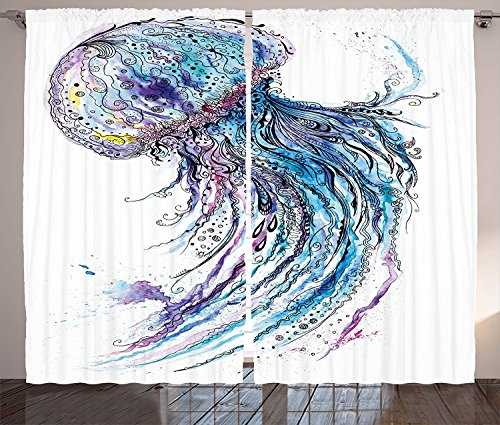 "Jellyfish Curtains 2 Panel Set Aqua Colors Artsy Ocean Animal Print Sketch Style Creative Sea Maritime Theme Living Room Bedroom Decor Blue Purple White,Size:2 x 54""W By 84""H"