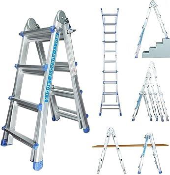 Profesional 4/7 – Escalera telescópica Escalera multiusos de aluminio – Escalera caballete Escalera aluminio pintor Escalera 14 peldaños): Amazon.es: Bricolaje y herramientas