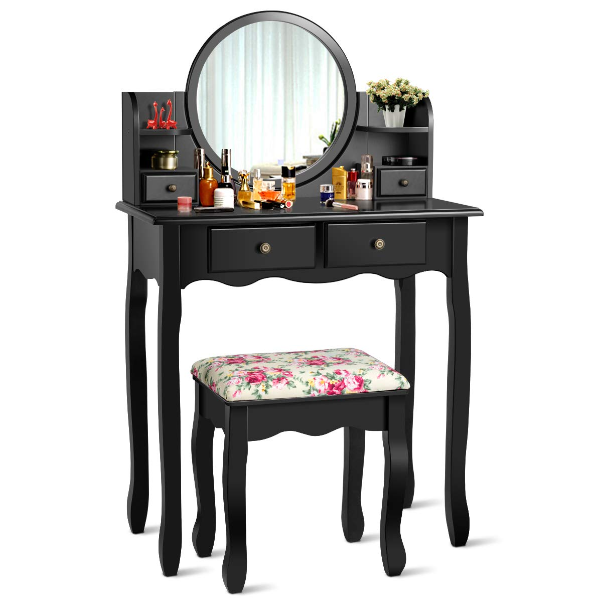 CHARMAID Vanity Set with 4 Storage Shelves and 4 Drawers, Makeup Table with 360 Pivoted Round Mirror and Makeup Organizers, Dressing Table with Mirror and Cushioned Stool for Women Girls Black