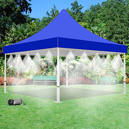mistcooling Tent with Pump and Tank - 160 PSI Mist Pump and 15 Gallon Tank with 20 Nozzle Mister - 10' x 10' Tent - for Outdoor Events Cooling (Blue) by mistcooling